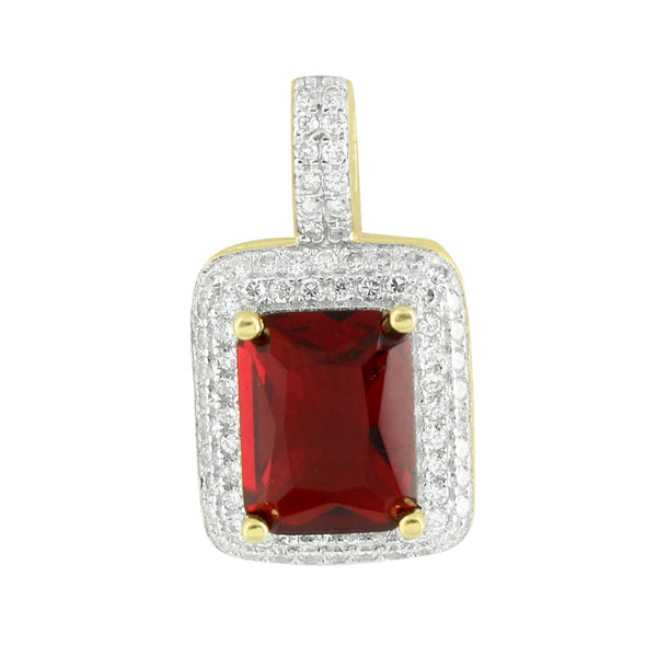 Sale Garnet Ruby Solitaire Iced Out Pendant 14K Gold Over Sterling Silver