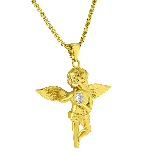 Angel Holding Solitaire Pendant 18k Yellow Gold Plated 24