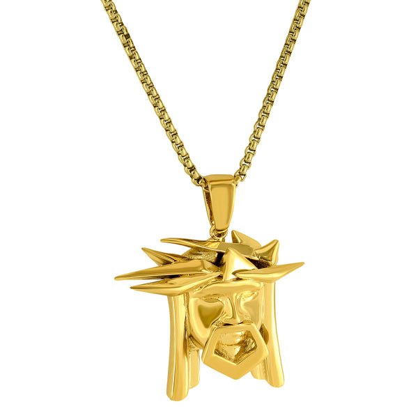 Designer Jesus Head with Crown of Thorns 18k Gold Finish Big Pendant with 24