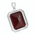 Garnet Ruby Solitaire Pendant Mens 18K White Gold Finish