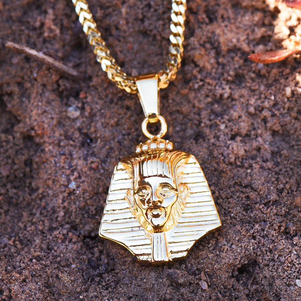 Egyptian Pharaoh Head Pendant 18K Yellow Gold Finish Necklace 24 IN