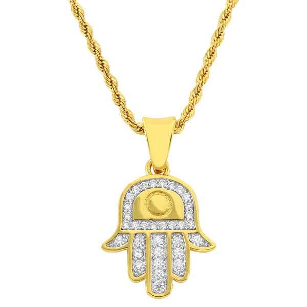 Men's 18k Gold Finish Iced Out Hamsa Hand Pendant with 24