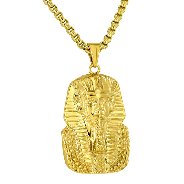 Egyptian Pharaoh Pendant Solid Back 18K Yellow Gold Plate Box Necklace