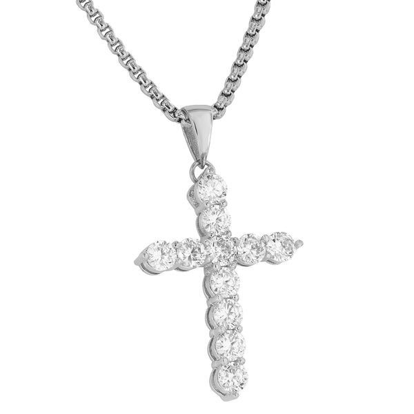 Cross Pendant Box Chain Set 18k White Gold Finish