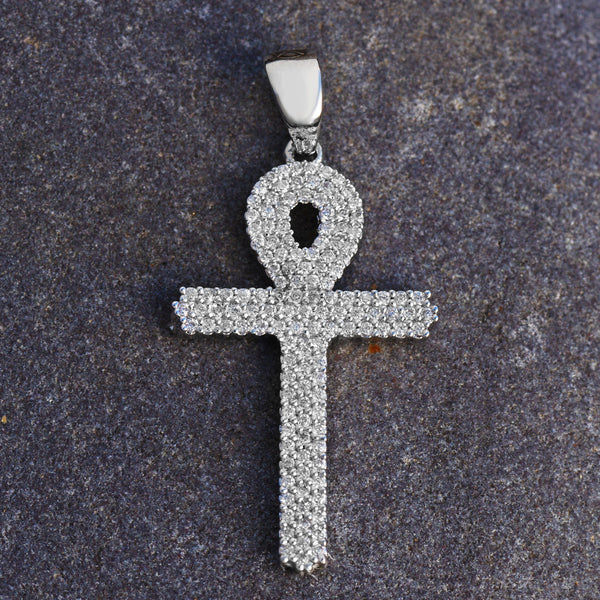 Ankh Cross Pendant With Lab Diamonds 18K White Gold Layer