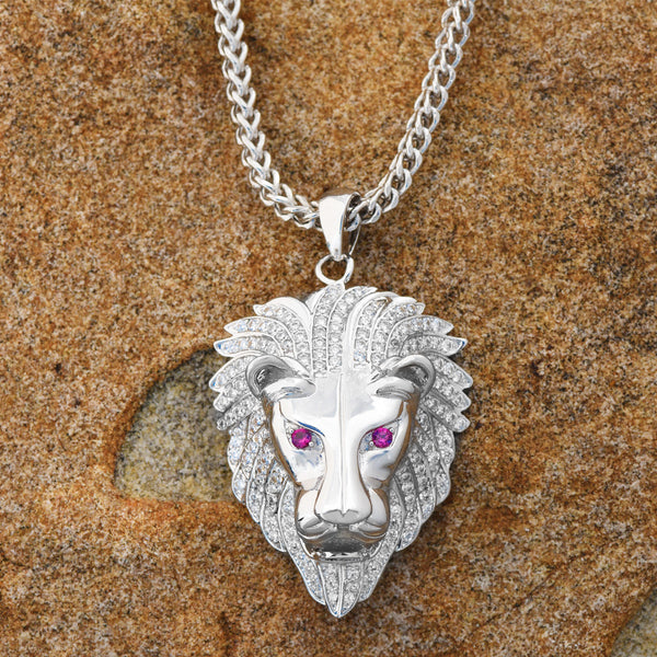 Ruby Eyes Lion Pendant 18K White Gold Finish Lab Diamonds