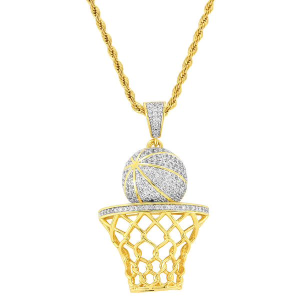 Designer Men's Fashion Basket Ball Pendant 18k Gold Finish with Free 24