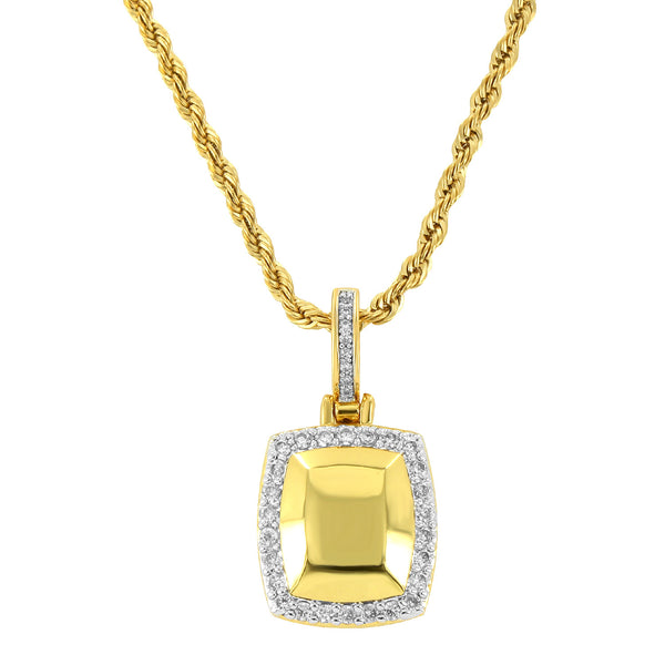 Men's 18k Gold Finish Fashion Iced Out 3D Dog Tag Pendant with 24