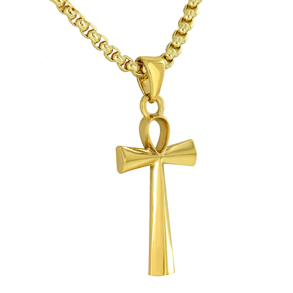 Ankh Cross Pendant 18K Yellow Gold Plated Free Box Necklace