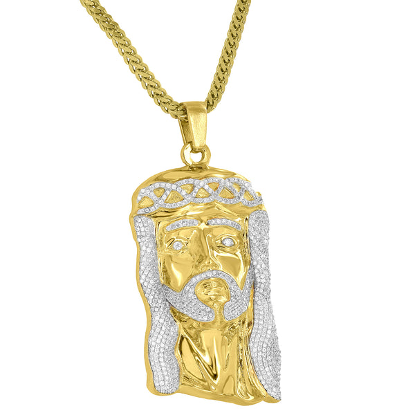 Jesus Face Pendant Christ Charm Yellow Finish Lab Diamond