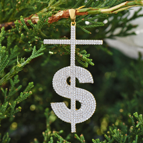 Dollar Sign Cross Pendant With Lab Diamonds On 18K Gold Finish