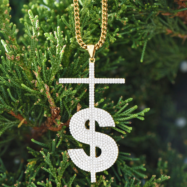 Money Dollar Sign Cross Pendant With Free Chain Lab Diamond 18K Gold Finish