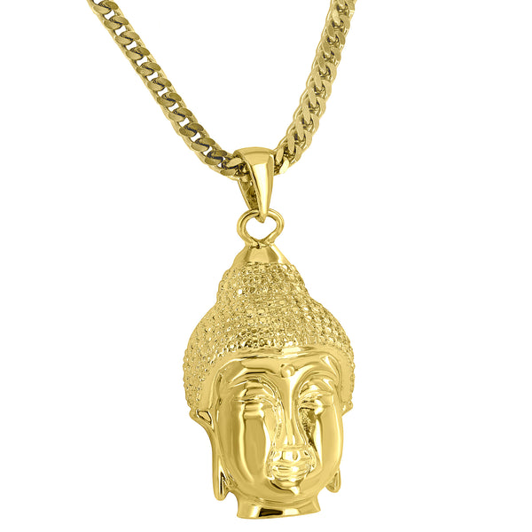 Buddha Pendant 18K Gold Finish Simulated Diamonds Free 24