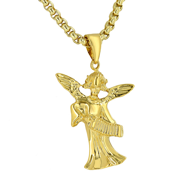 Angel Playing Musical Instrument Pendant 18K Yellow Gold Plate