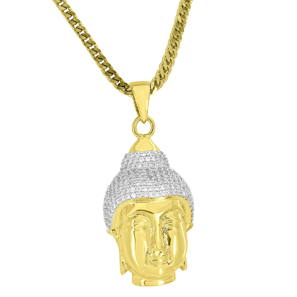 Custom Buddha Head Pendant Free Stainless Steel Franco Chain Chain
