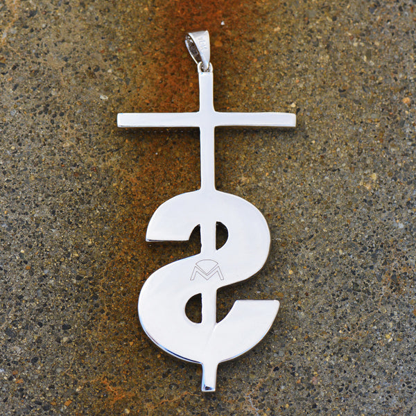 Cross Dollar Sign Pendant Charm Lab Diamonds 18K White Gold Finish