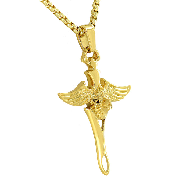 Eagle Design Cross Pendant 18K Yellow Gold Plated Free Box Necklace
