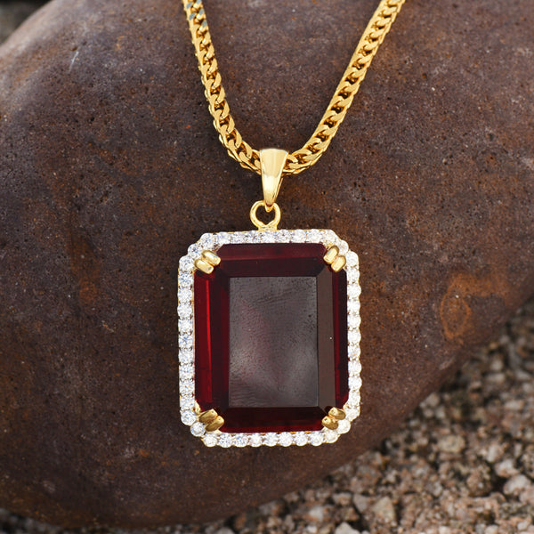Garnet Ruby Pendant Necklace Set 18K Gold Finish Lab Diamonds Hip Hop