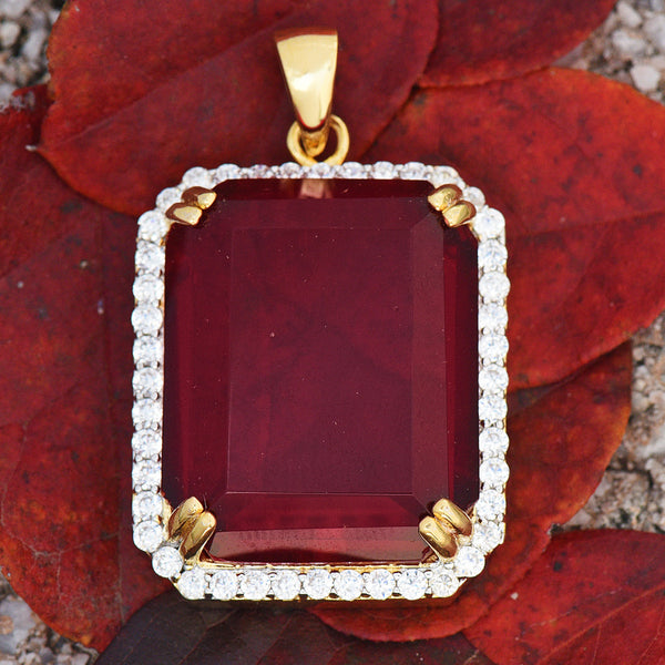 Ruby Pendant For Men 18K Yellow Gold Finish Lab Diamond