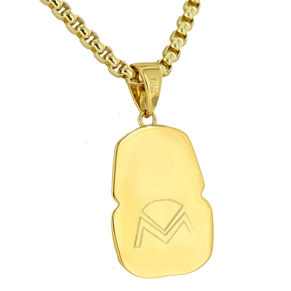Egyptian Pharaoh Pendant Charm 18K Yellow Gold Finish Necklace Chain
