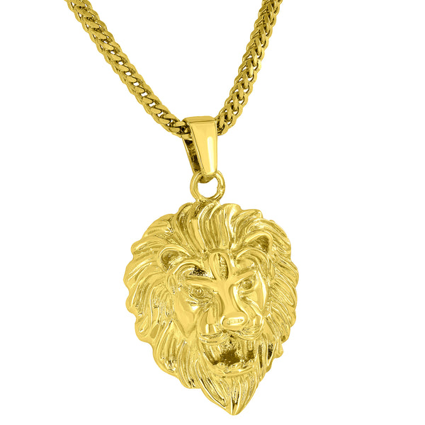Designer Lion Head Pendant 18K Gold Tone Free Stainless Steel Franco Necklace