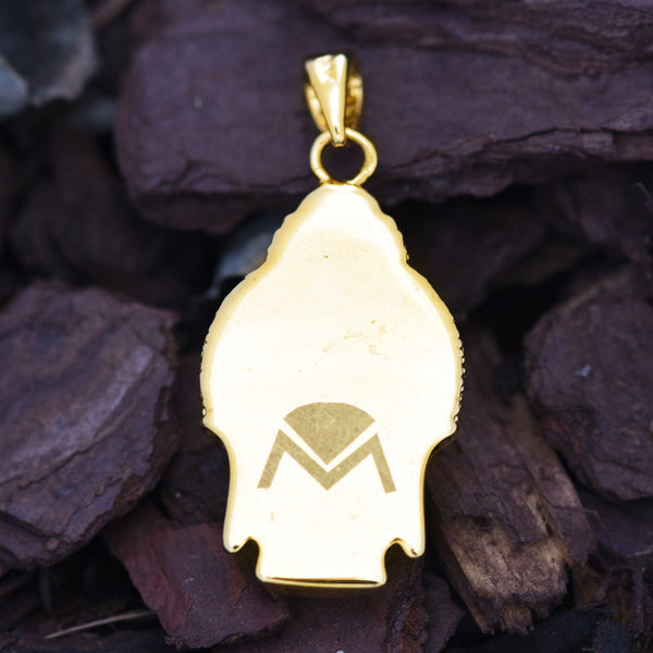 Mens Buddha Head Piece Pendant 18K Yellow Gold Finish