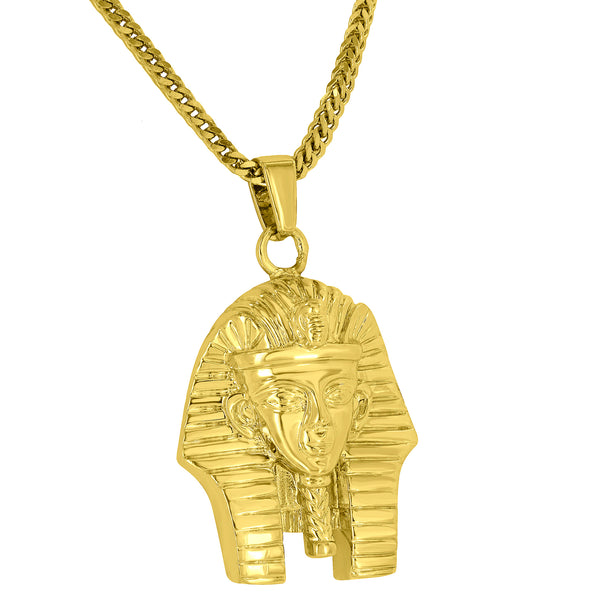 Egyptian Pharoah Pendant 18K Gold Finish Free Stainless Steel Box Chain