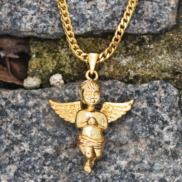 Angel Pendant Franco Necklace Set 18K Gold Finish
