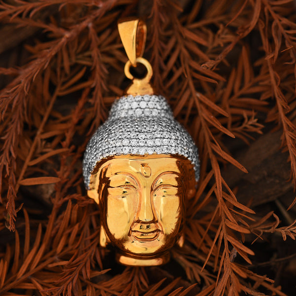 Buddha Face Pendant Lab Diamonds Solid Back 18K Gold Finish