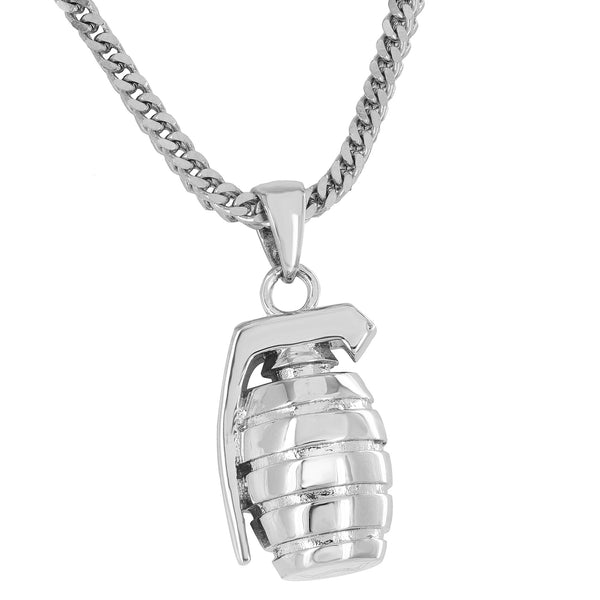 Custom Grenade Bomb Pendant Silver Tone Free Stainless Steel Chain