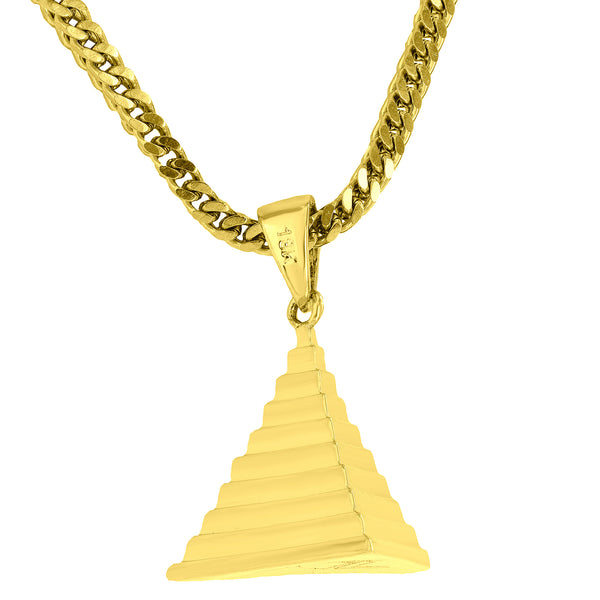 Custom Pyramid Pendant Unique Design 18K Gold Finish Free Stainless Steel Franco Chain