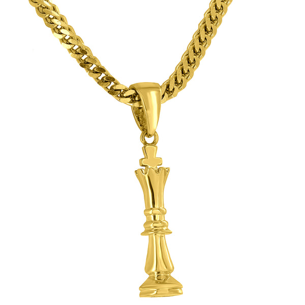 Chess Piece Pendant 18K Gold Finish Free 24