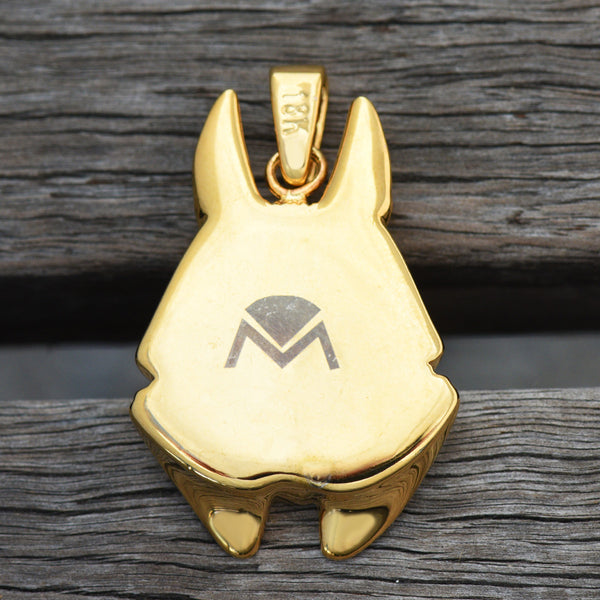 Anubis Pendant Egyptian Underworld God 18K Yellow Gold Tone
