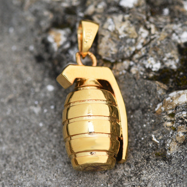 Grenade Explosive Bomb Pendant Military 18K Yellow Gold Finish