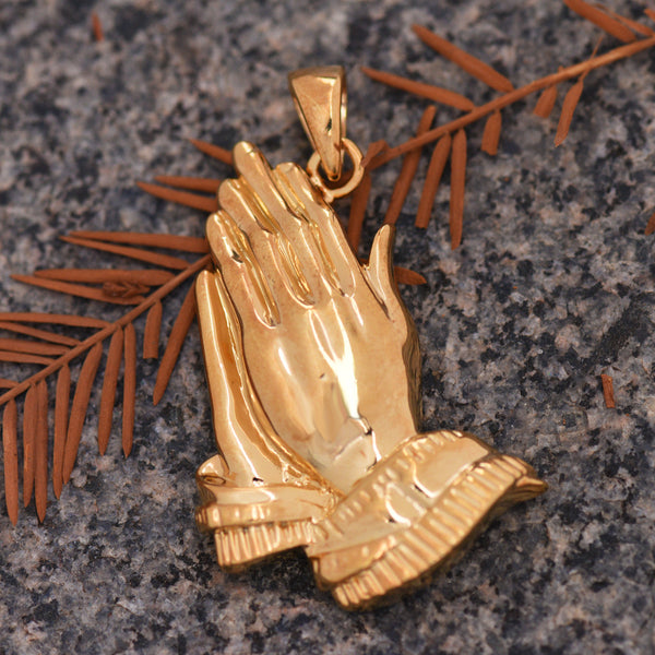 Praying Hands Religious Pendant 18k Yellow Gold Finish Solid Back