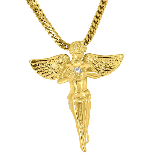 Guardian Angel Pendant Holding Solitaire Lab Diamond 18K Gold Finish