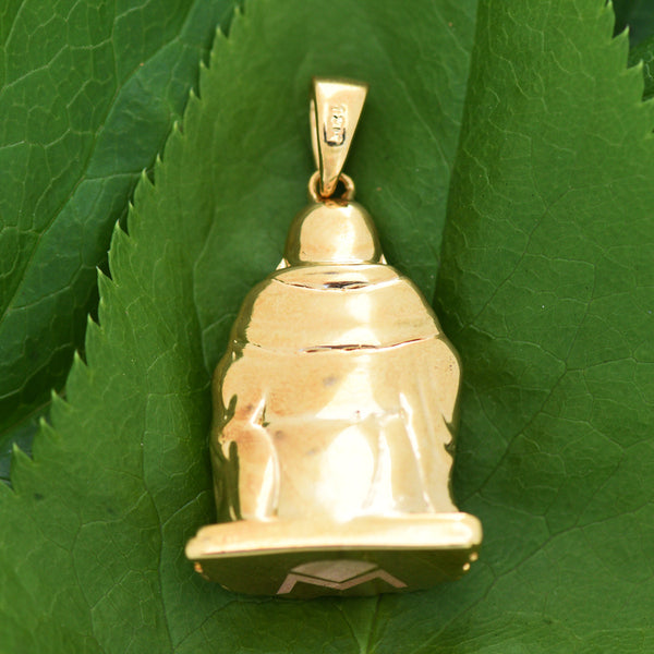 18K Yellow Gold Buddha Pendant Brand New