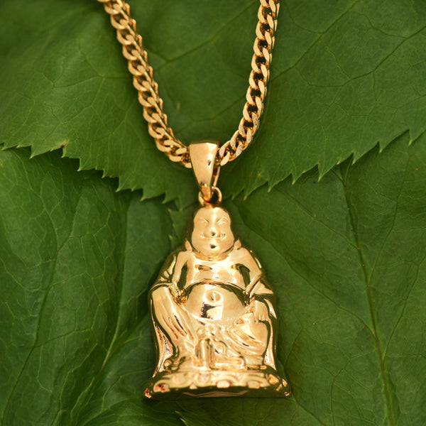 Buddha Pendant 18K Gold Finish Buddhist Free Franco Necklace