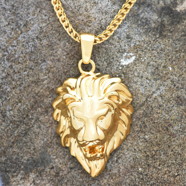Lion Head Piece Pendant 18K Gold Finish Free Franco Necklace