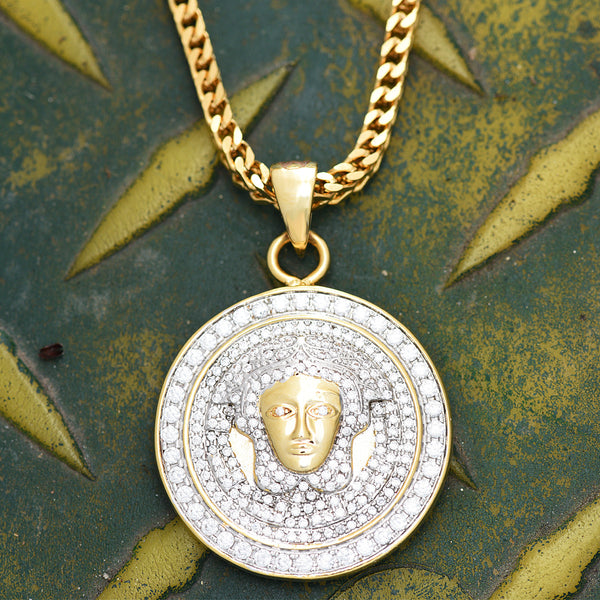 Medusa Head Round Pendant Lab Diamonds 18K Gold Free Necklace