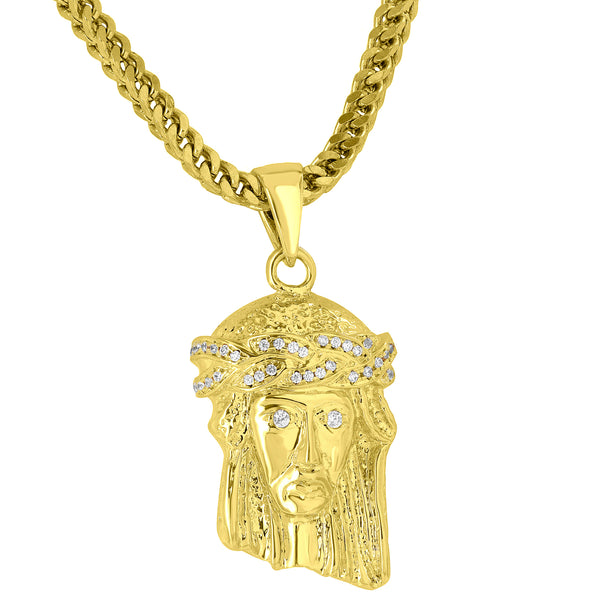 Designer Jesus Face Pendant Simulated Diamonds Free Stainless Steel Franco Chain