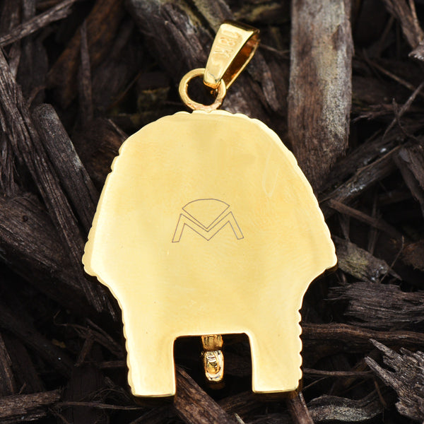 Egyptian Pharaoh Skull 18K Gold Pendant Finish Ancient Charm
