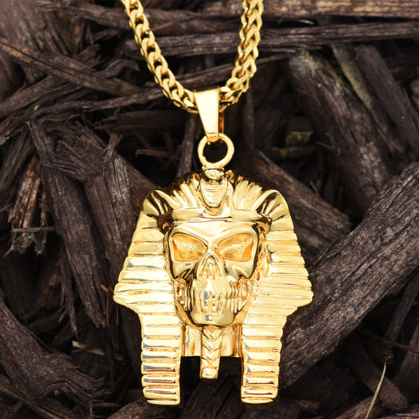 Egyptian Pharaoh Pendant Mens 18K Yellow Gold Finish