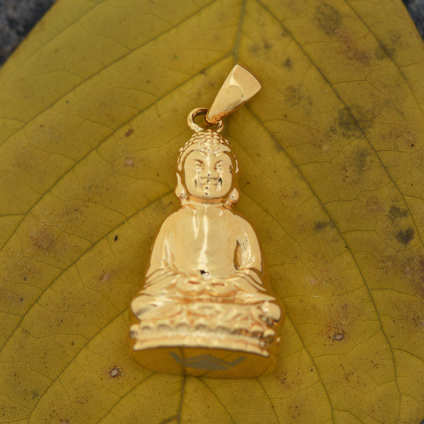 Buddha Pendant Charm 18K Gold Finish Buddhist Inner Peace