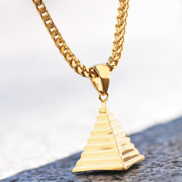 Micro Egyptian Pyramid Pendant 18K Gold Tone Franco Necklace