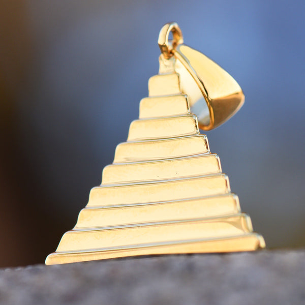 Egyptian Pyramid Pendant 18K Yellow Gold Plate Brand New