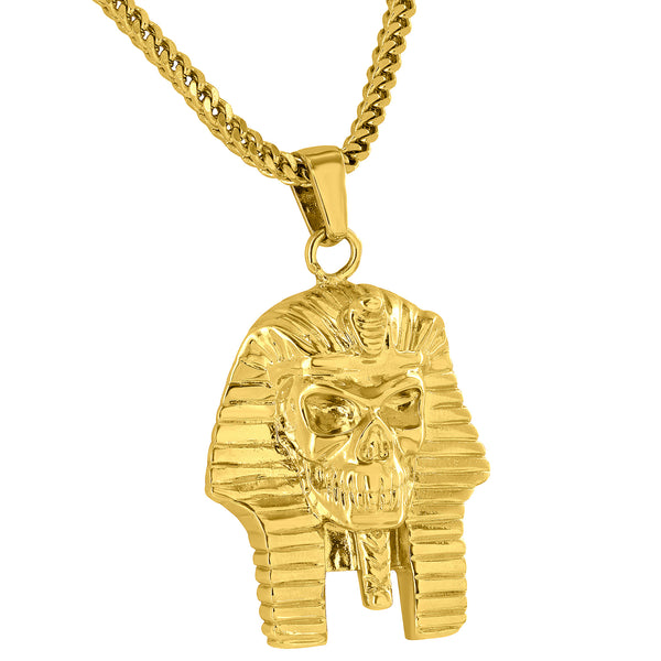 Egyptian Pharaoh Skull Pendant 18K Gold Finish Free 24