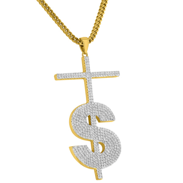 Designer Iced Out Dollar Sign Pendant Free Stainless Steel Necklace