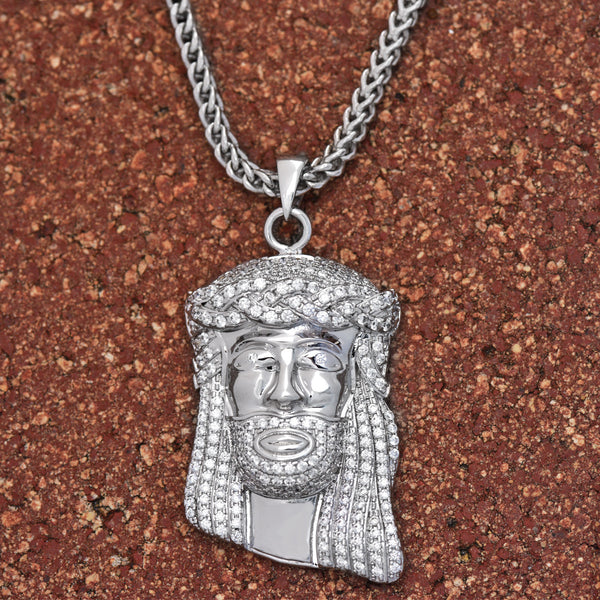 Jesus Pendant White Gold 18K Finish Lab Diamonds Free Chain