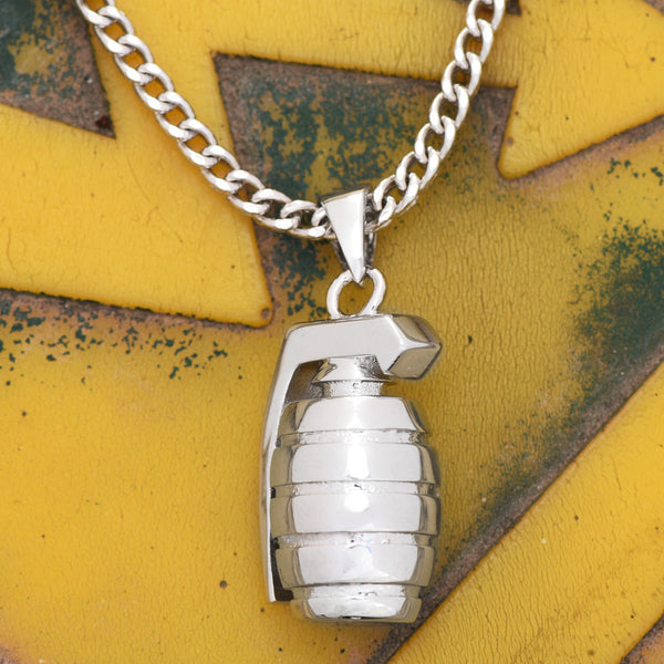 Grenade Explosive Bomb Pendant With Free Necklace 18K White Gold Finish